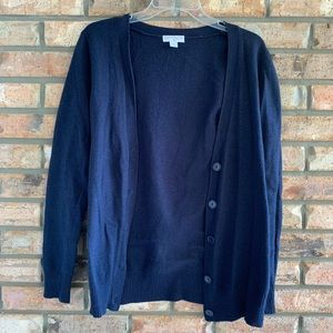 Cotton On navy blue button-dow. sweater
